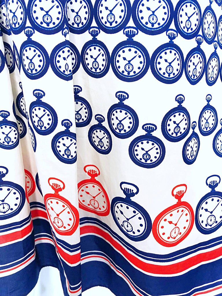 Gray Chic 1950s Pocket Watch Novelty Print Red White and Blue Silk 50s Shirt Dress For Sale