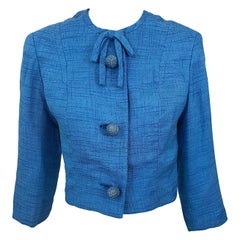 Chic 1950s Robins Egg Blue Silk Vintage 50s Cropped Jacket