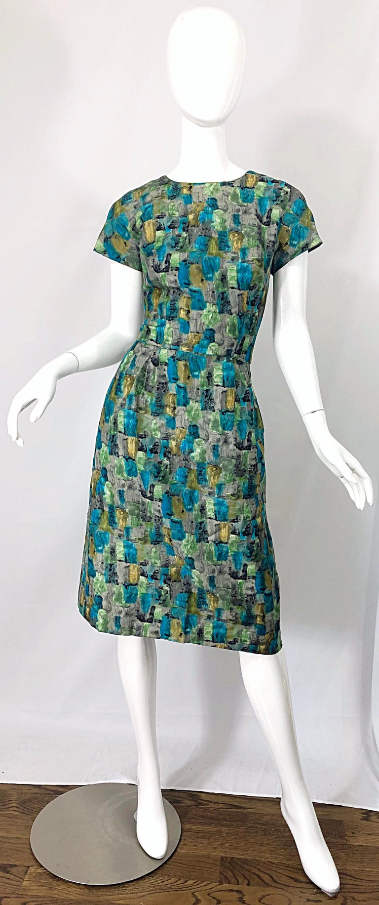 Chic 1950s Silk Mosaic Print Blue Green Vintage 50s