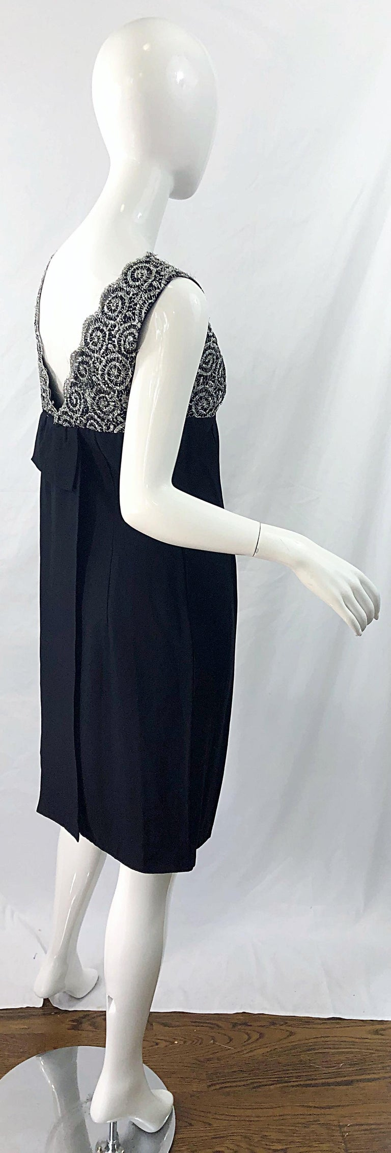 Chic 1960s Black and Silver Metallic Lace Rayon Crepe Vintage 60s Sheath Dress For Sale 6