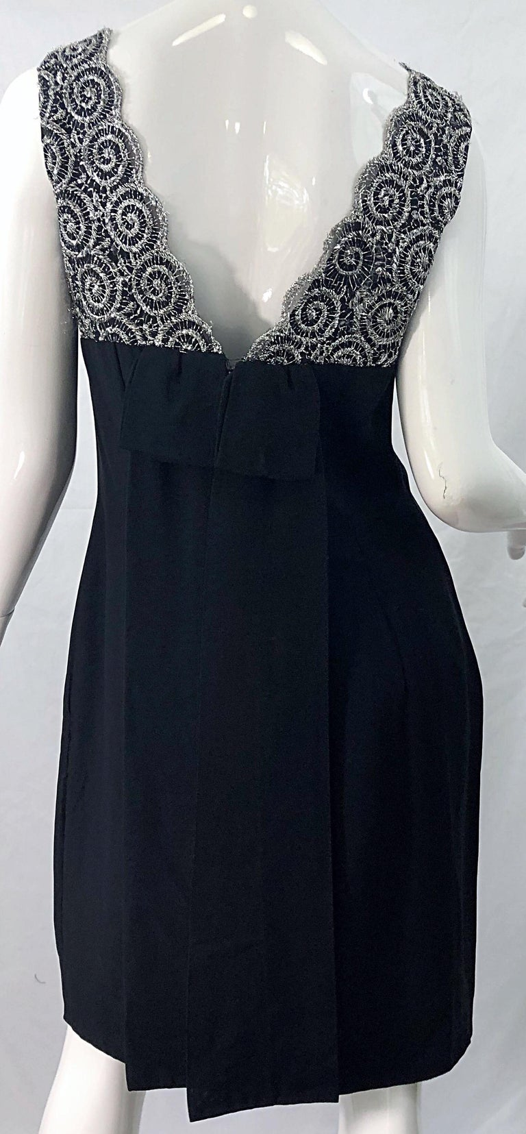 Chic 1960s Black and Silver Metallic Lace Rayon Crepe Vintage 60s Sheath Dress For Sale 8