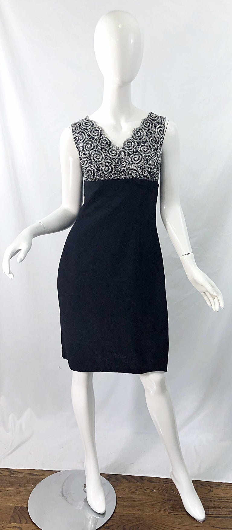 Chic 1960s Black and Silver Metallic Lace Rayon Crepe Vintage 60s Sheath Dress For Sale 9