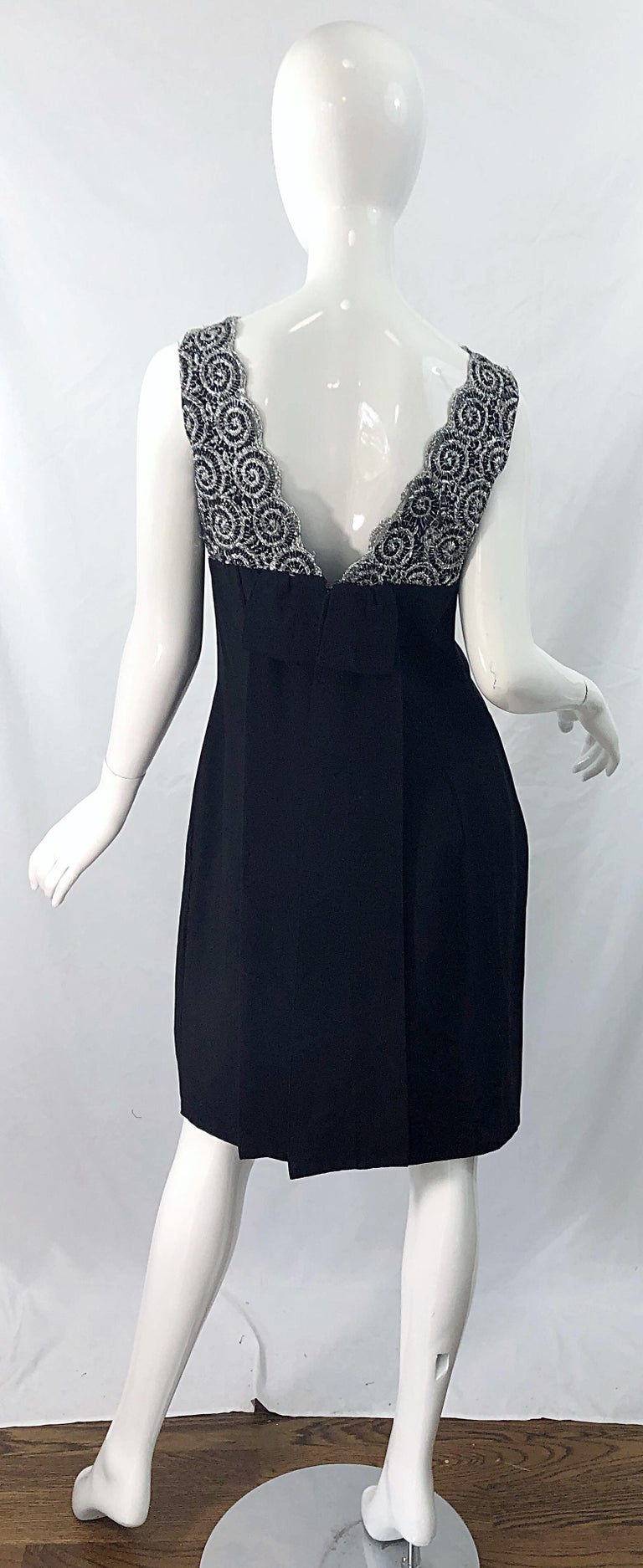 Women's Chic 1960s Black and Silver Metallic Lace Rayon Crepe Vintage 60s Sheath Dress For Sale