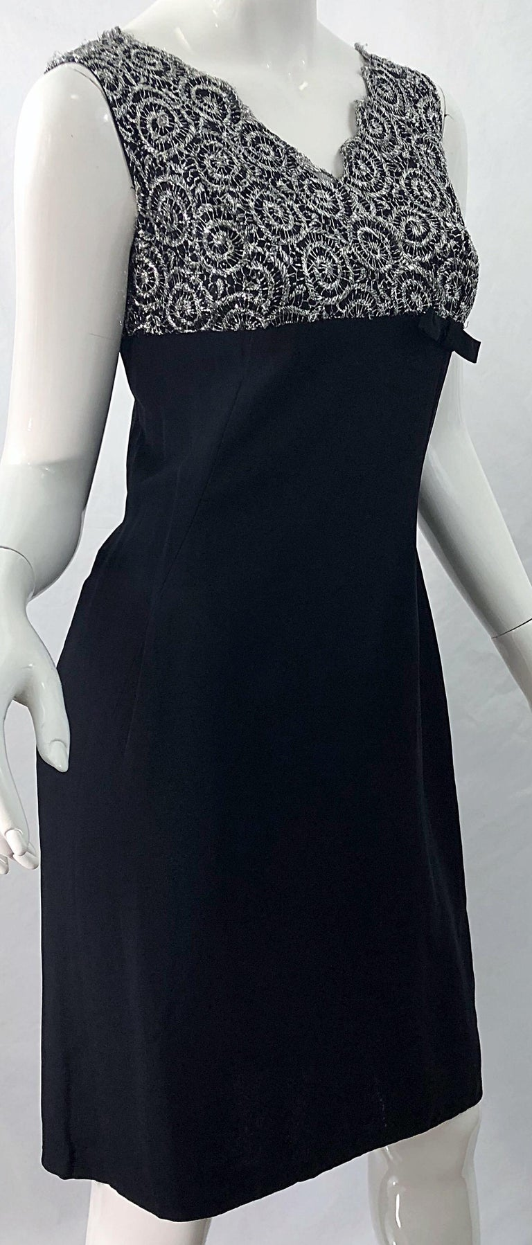 Chic 1960s Black and Silver Metallic Lace Rayon Crepe Vintage 60s Sheath Dress For Sale 1