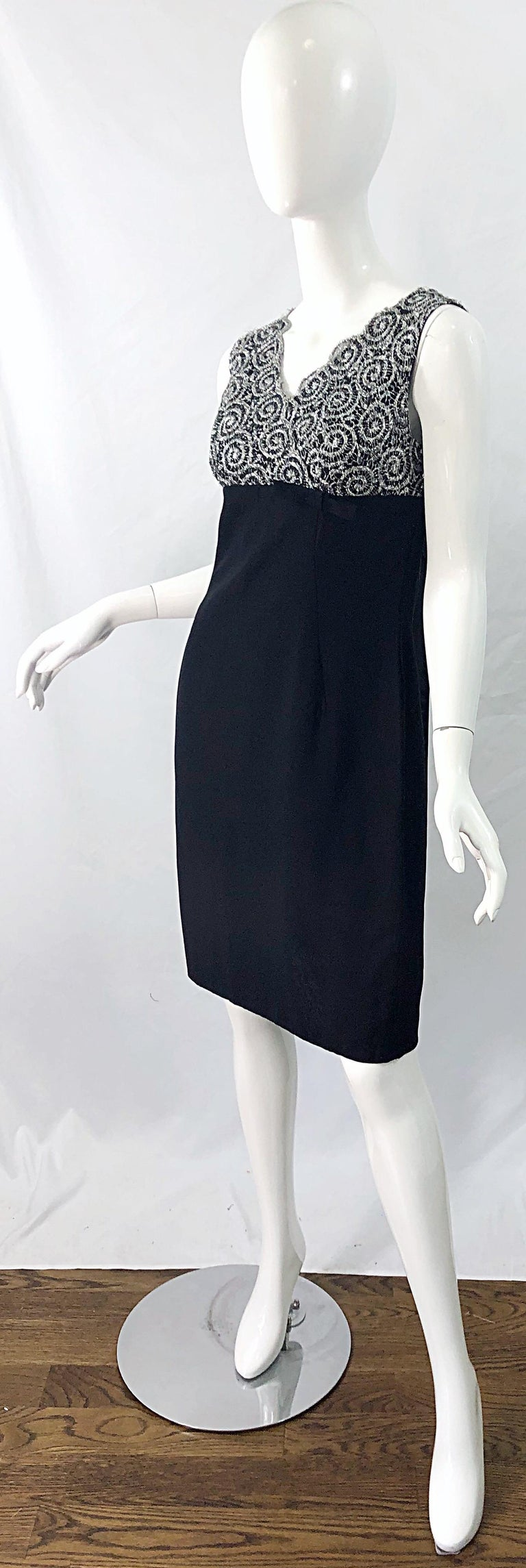 Chic 1960s Black and Silver Metallic Lace Rayon Crepe Vintage 60s Sheath Dress For Sale 2