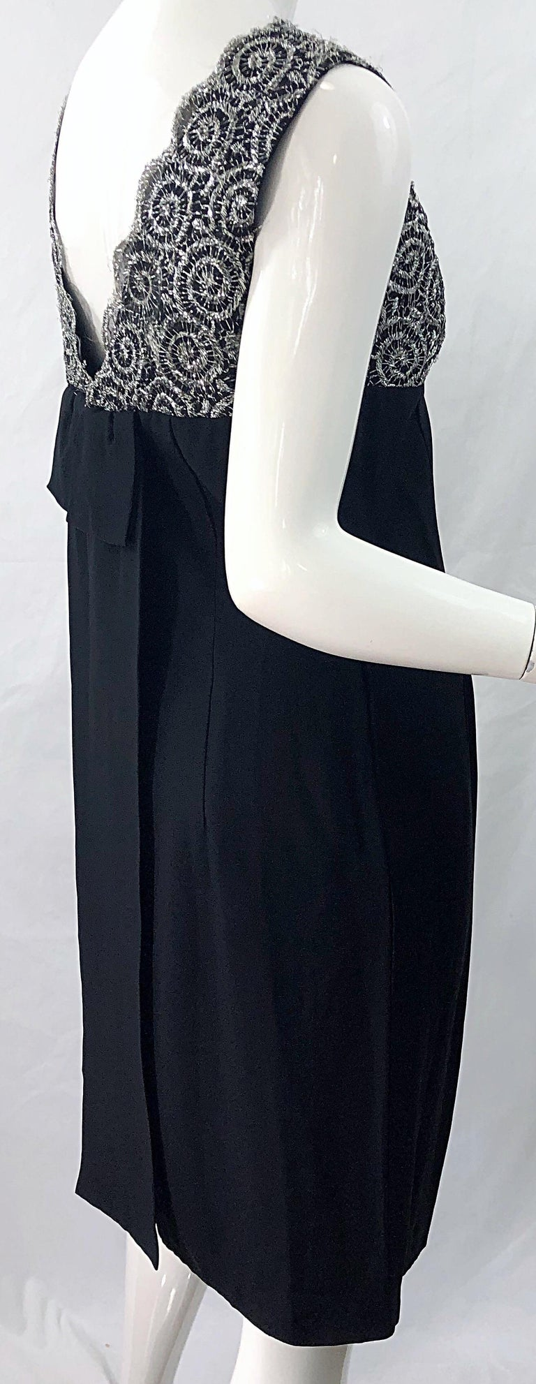 Chic 1960s Black and Silver Metallic Lace Rayon Crepe Vintage 60s Sheath Dress For Sale 3