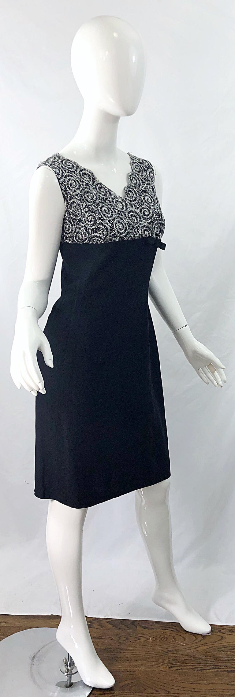 Chic 1960s Black and Silver Metallic Lace Rayon Crepe Vintage 60s Sheath Dress For Sale 4
