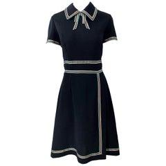 Chic. 1960s Black Knit Ribbon Bow Vintage 60s Short Sleeve A Line Dress