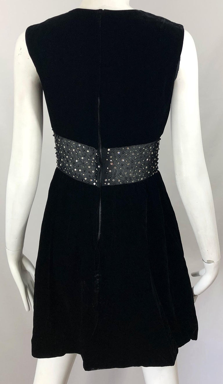 Chic 1960s Black Velvet Cut - Out Rhinestone Beaded Vintage 60s A Line Dress For Sale 6