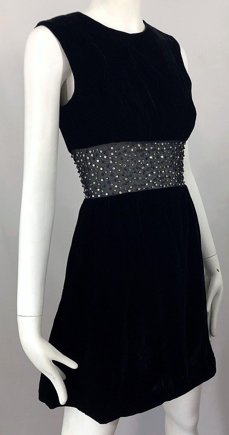 Chic 1960s Black Velvet Cut - Out Rhinestone Beaded Vintage 60s A Line Dress For Sale 7