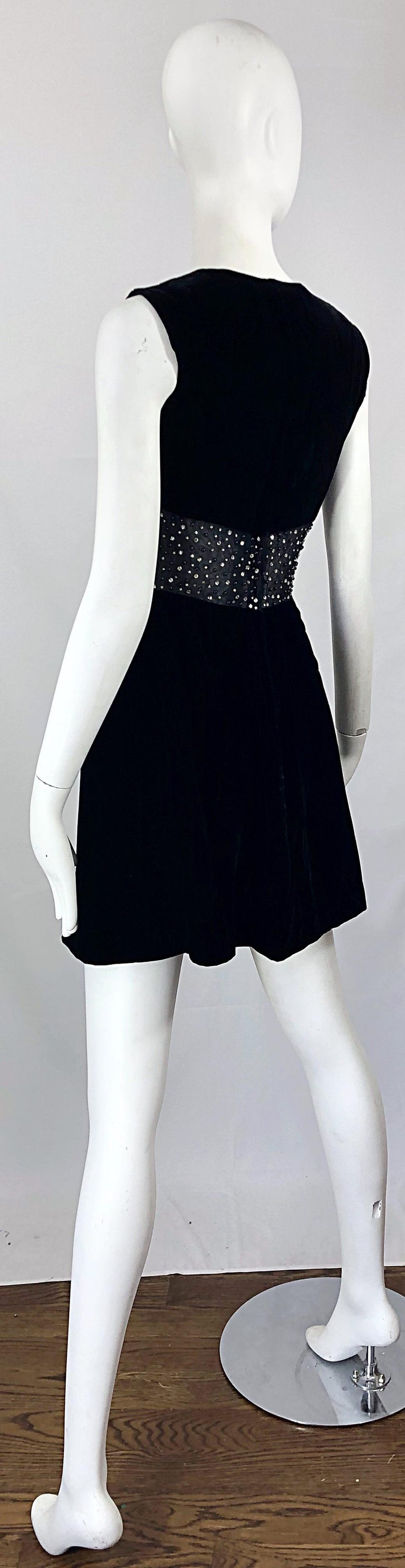 Chic 1960s Black Velvet Cut - Out Rhinestone Beaded Vintage 60s A Line Dress For Sale 8