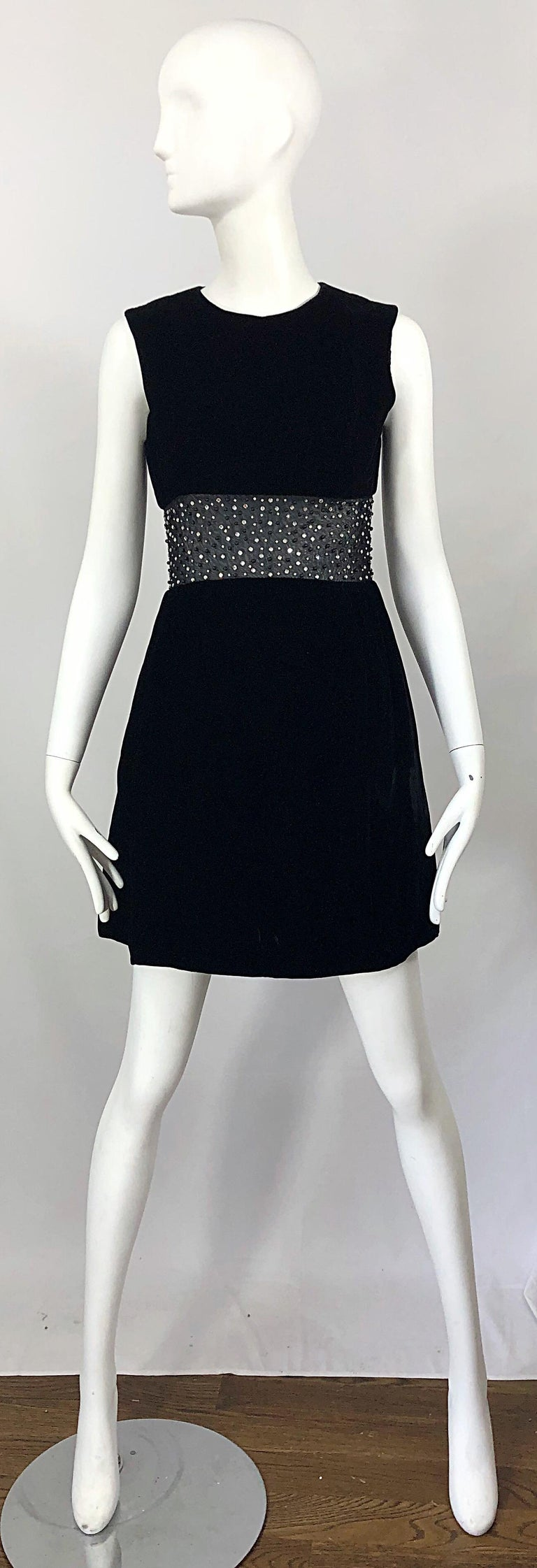 Chic 1960s Black Velvet Cut - Out Rhinestone Beaded Vintage 60s A Line Dress For Sale 9