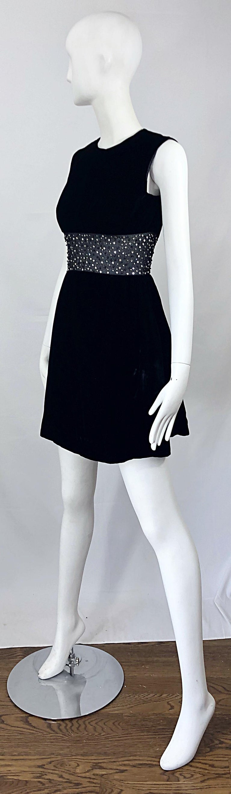 Chic 1960s Black Velvet Cut - Out Rhinestone Beaded Vintage 60s A Line Dress For Sale 5