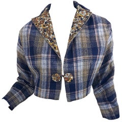 Chic 1960s Blue Plaid + Flowers Wool and Silk Space Age Cropped Bolero Jacket