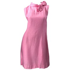 Chic 1960s Bubblegum Pink Jackie O Style Vintage 60s Raw Silk Bow Dress
