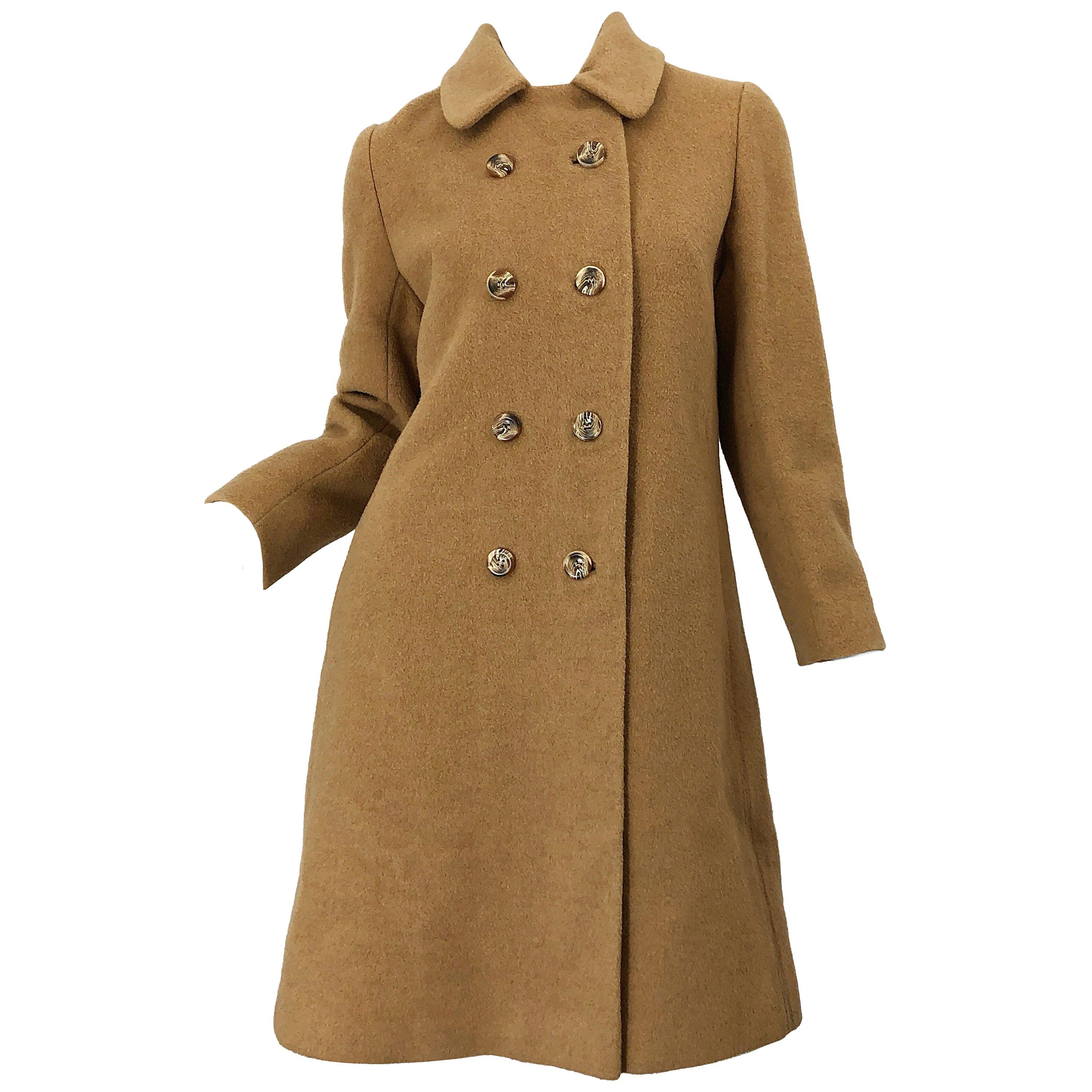 Chic 1960s Camel Tan Camels Hair Wool Double Breasted Vintage Swing Jacket Coat