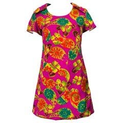 Chic 1960s Hawaiian Tiki Print Fuchsia Pink Cotton 60s Vintage Tunic Mini Dress