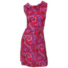 Chic 1960s Irish Linen Pink + Red + Purple Paisley Vintage 60s Mod Shift Dress