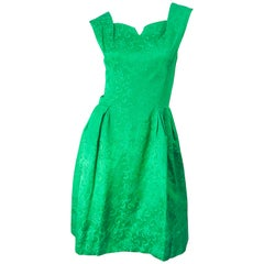 Chic 1960s Kelly Green Silk Damask Sleeveless Vintage 60s A-Line Dress