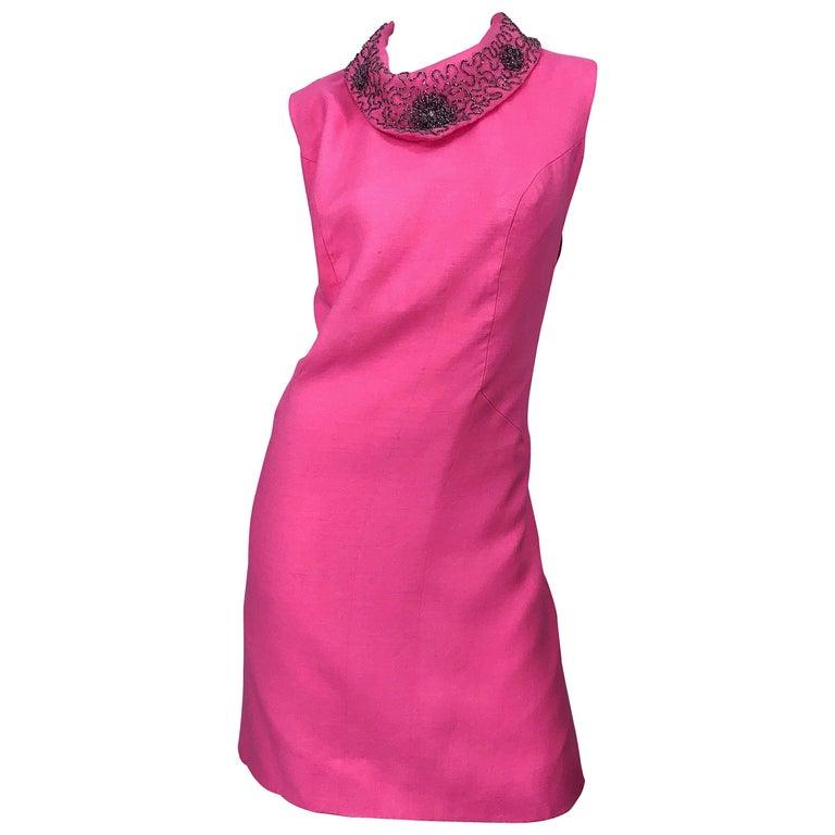 Chic 1960s Large Plus Size Bubblegum Pink Beaded Vintage 60s Shift Dress
