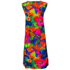 Chic 1960s Larger Size Neon Abstract Flower Print Vintage 60s Cotton Shift Dress
