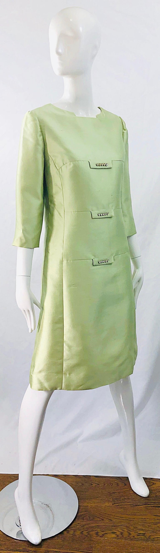 Chic 1960s Mint Green Silk Shantung Rhinestone Vintage 60s A Line Dress For Sale 5