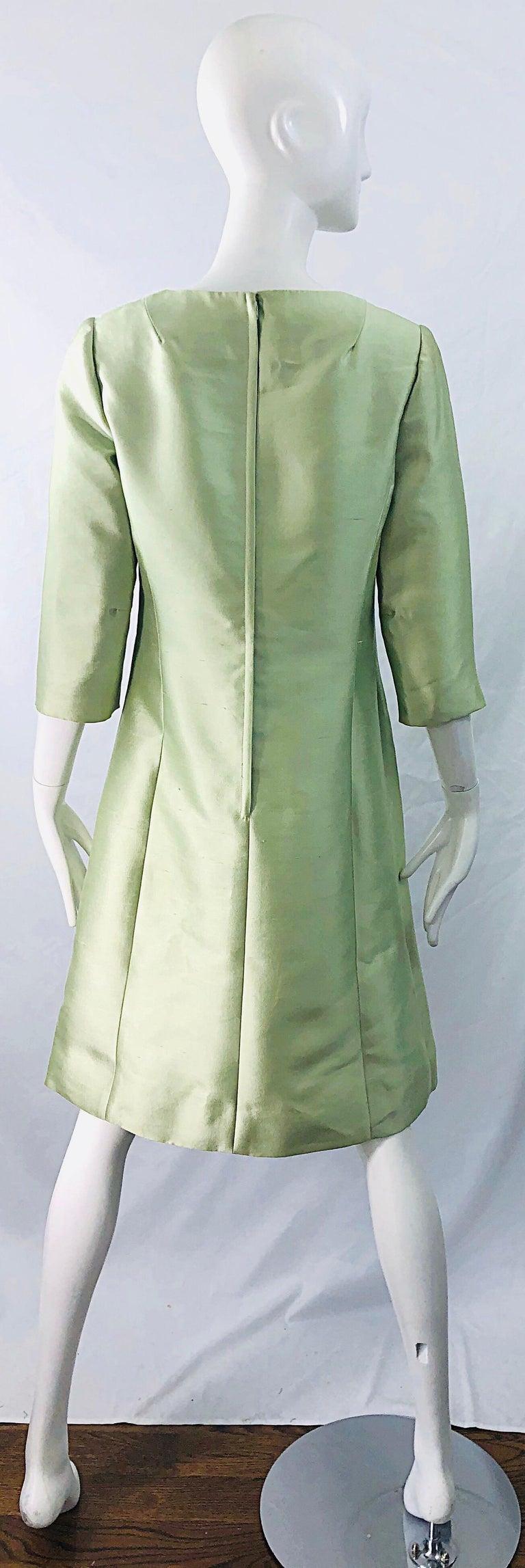 Chic 1960s Mint Green Silk Shantung Rhinestone Vintage 60s A Line Dress For Sale 6
