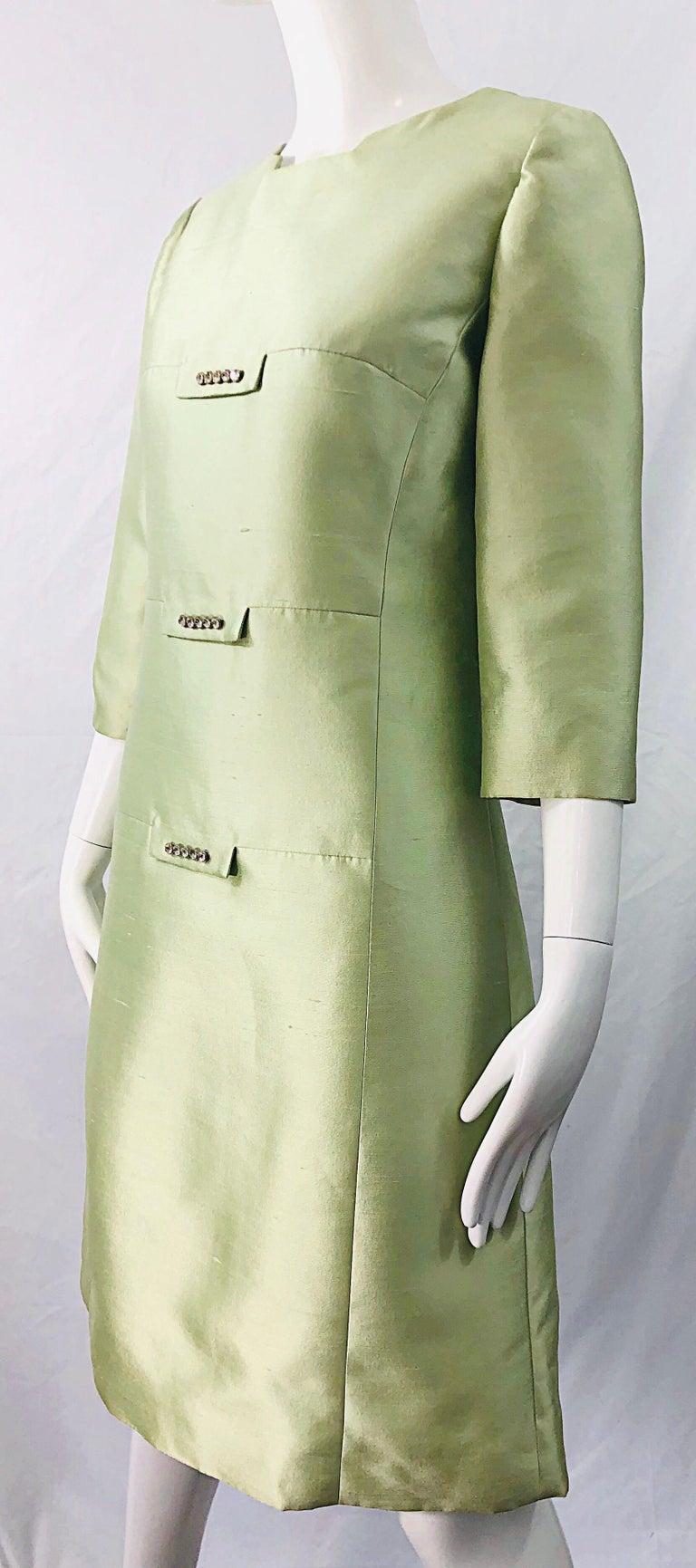 Chic 1960s Mint Green Silk Shantung Rhinestone Vintage 60s A Line Dress For Sale 7