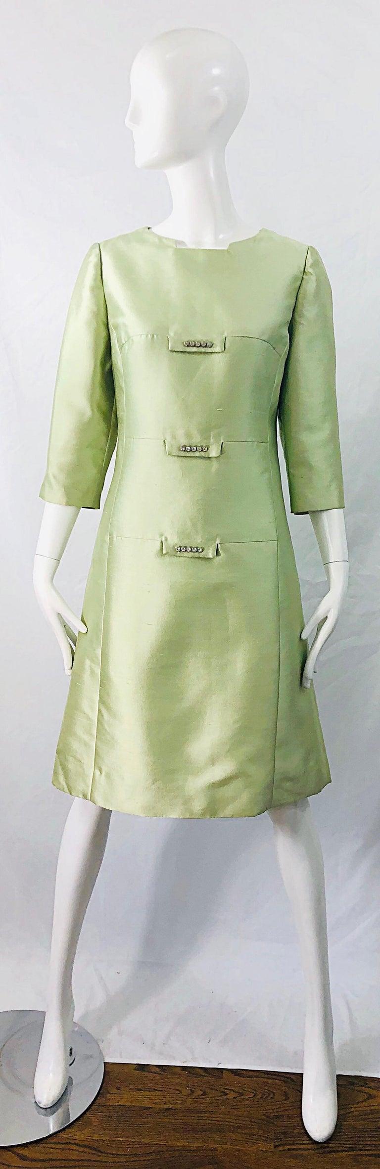 Chic 1960s Mint Green Silk Shantung Rhinestone Vintage 60s A Line Dress For Sale 8