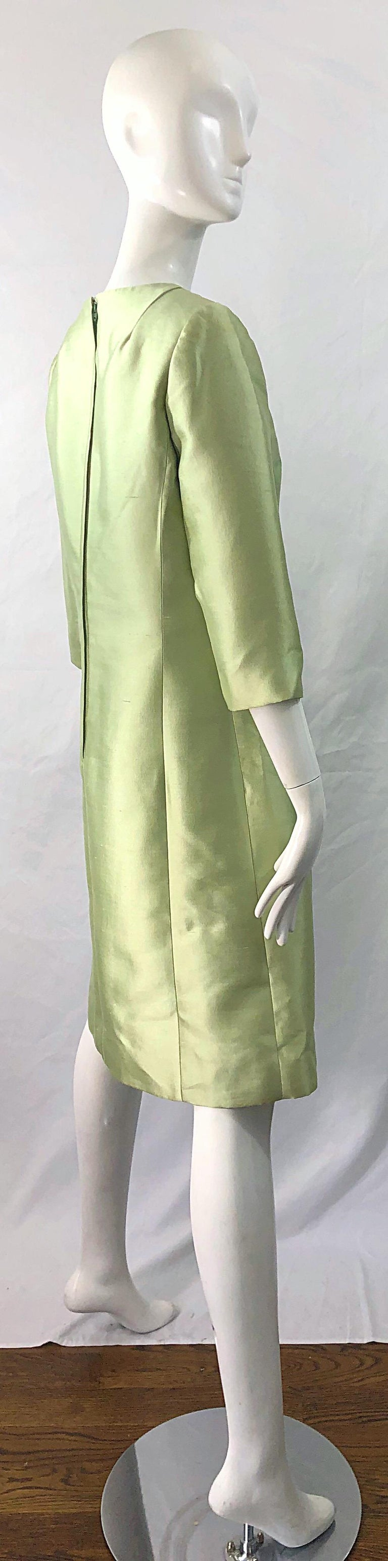 Gray Chic 1960s Mint Green Silk Shantung Rhinestone Vintage 60s A Line Dress For Sale