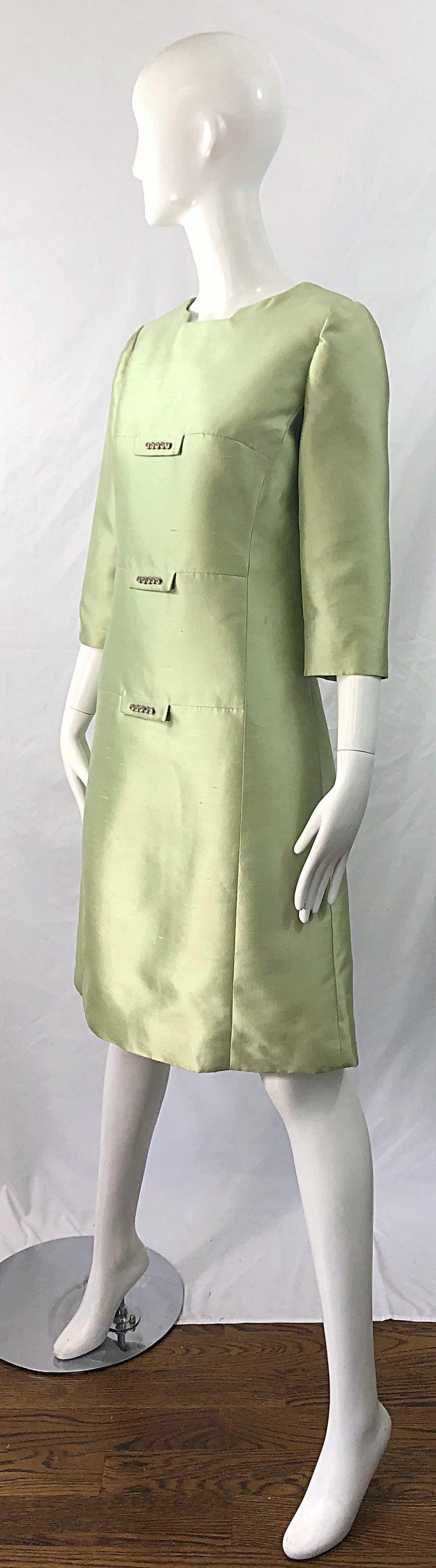 Chic 1960s Mint Green Silk Shantung Rhinestone Vintage 60s A Line Dress In Excellent Condition For Sale In Chicago, IL