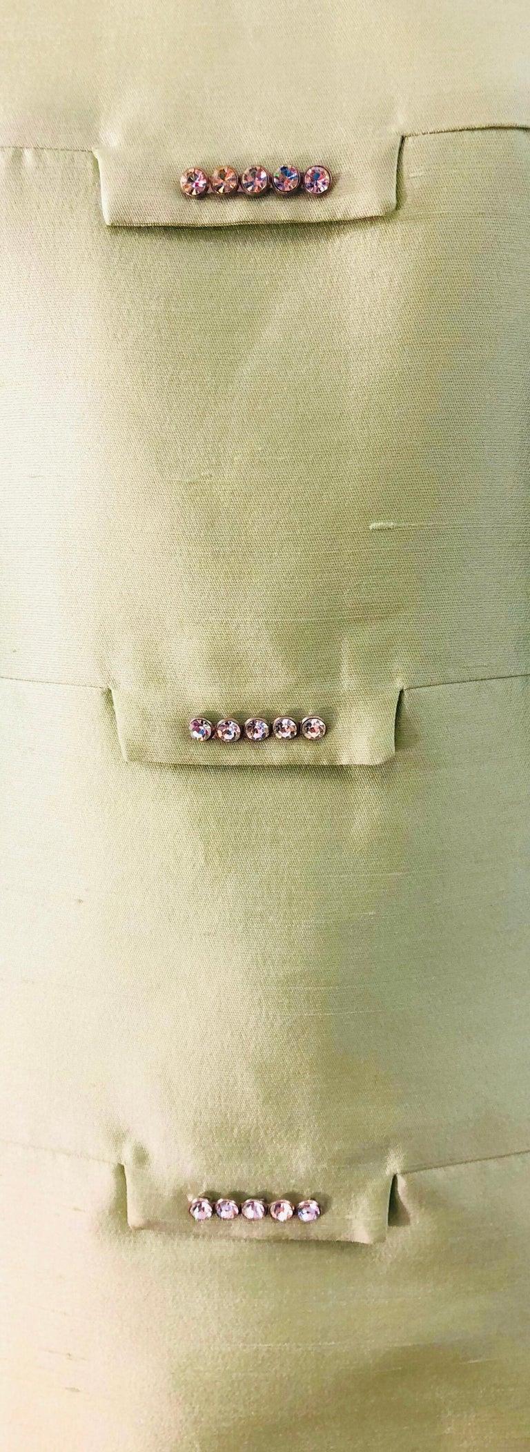 Women's Chic 1960s Mint Green Silk Shantung Rhinestone Vintage 60s A Line Dress For Sale