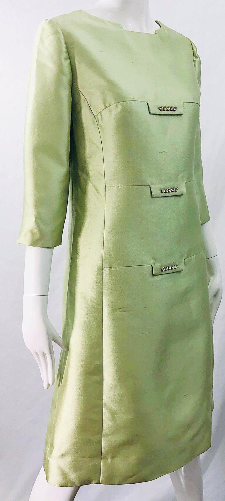 Chic 1960s Mint Green Silk Shantung Rhinestone Vintage 60s A Line Dress For Sale 1