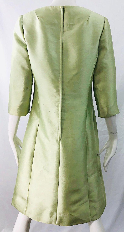 Chic 1960s Mint Green Silk Shantung Rhinestone Vintage 60s A Line Dress For Sale 2