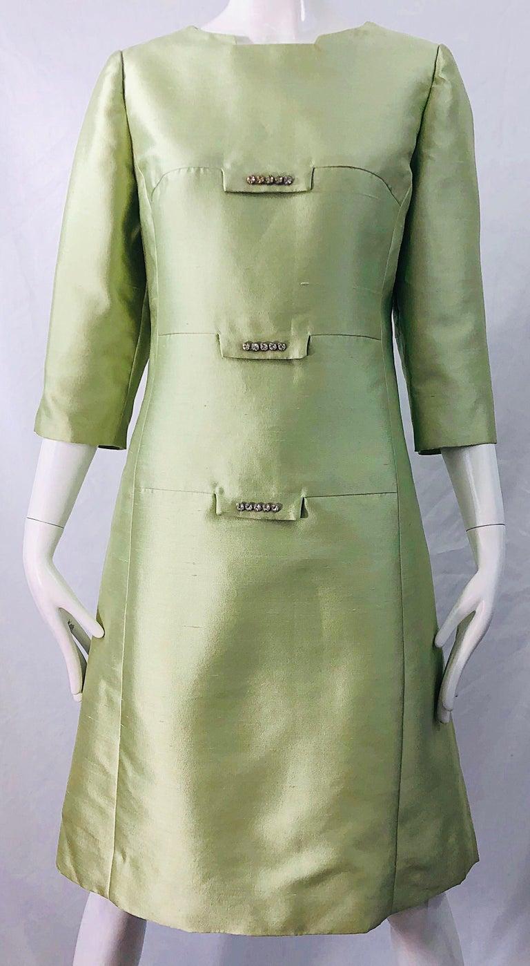 Chic 1960s Mint Green Silk Shantung Rhinestone Vintage 60s A Line Dress For Sale 3