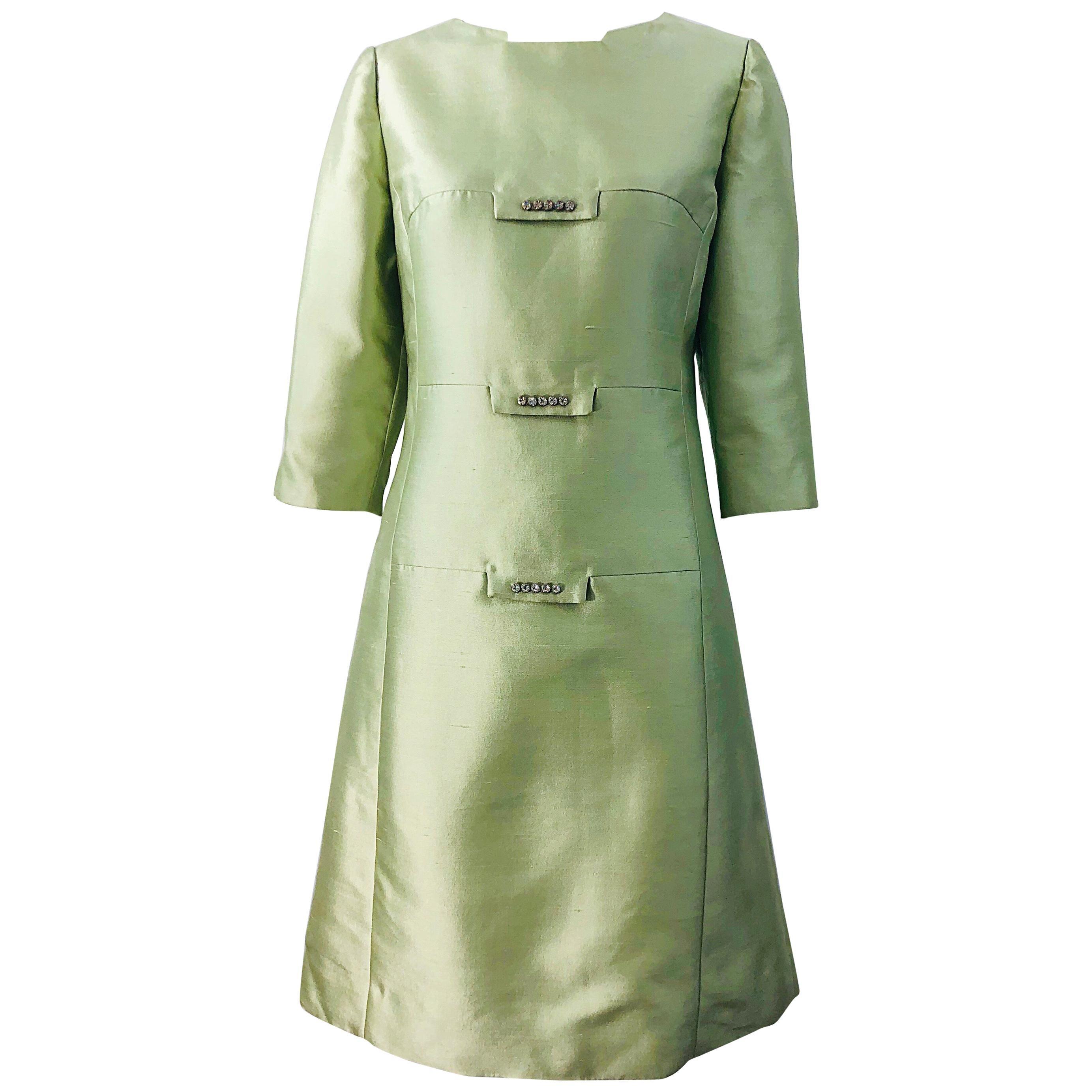 Chic 1960s Mint Green Silk Shantung Rhinestone Vintage 60s A Line Dress