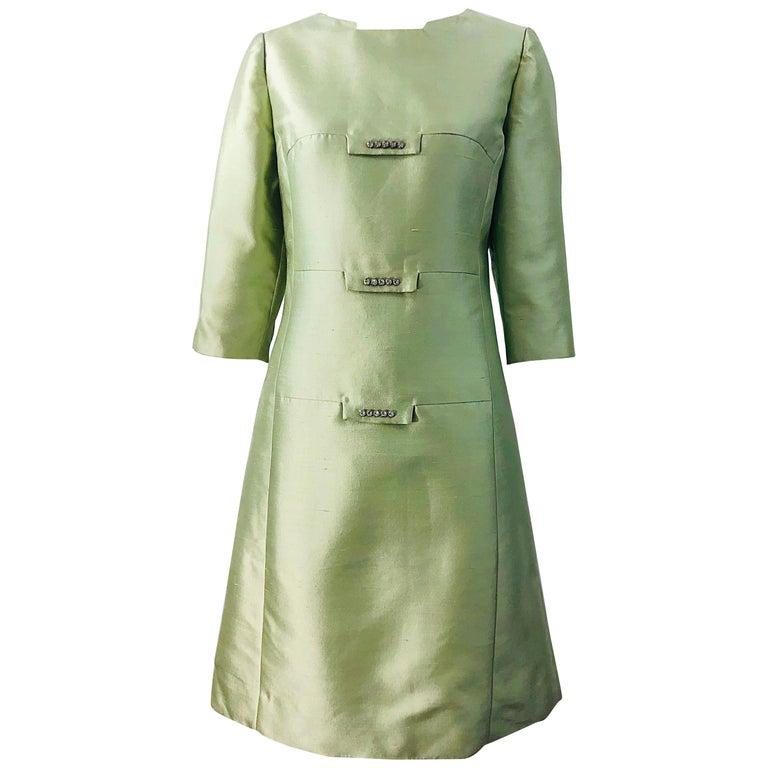Chic 1960s Mint Green Silk Shantung Rhinestone Vintage 60s A Line Dress For Sale