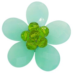 Chic 1960s Mint + Lime Green Beaded Flower Lucite Vintage 60s Brooch Pin Mod
