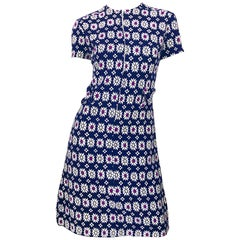 Chic 1960s Navy Blue + Fuchsia + Yellow Geometric Daisy Print 60s A Line Dress