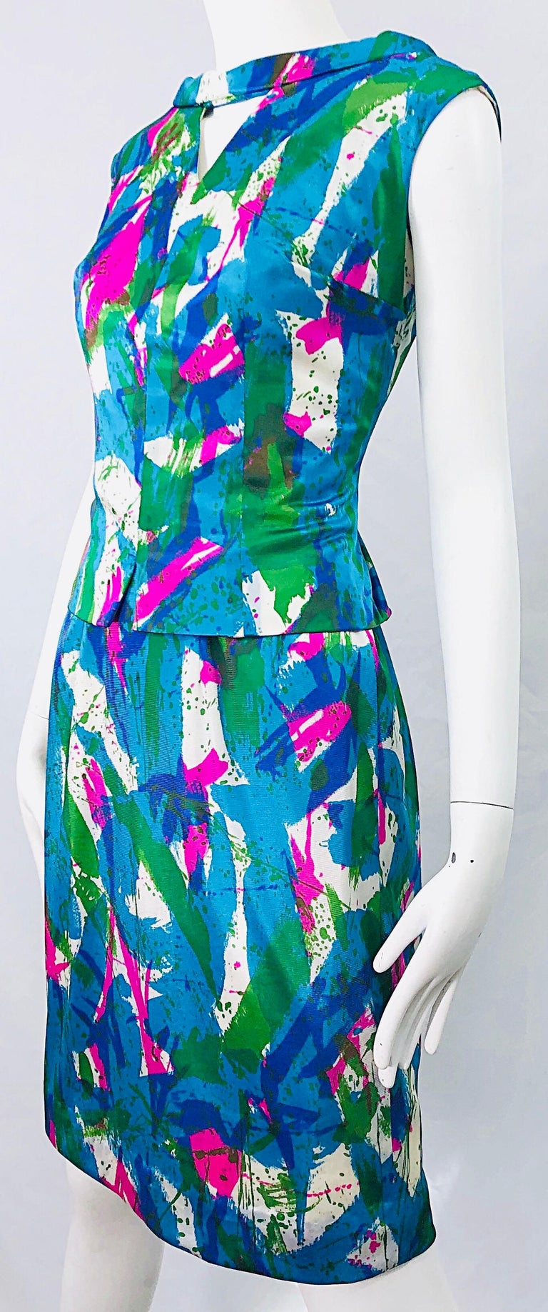Chic 1960s Neon Abstract Print Two Piece Vintage 60s Sheath Dress + Top Blouse  For Sale 6