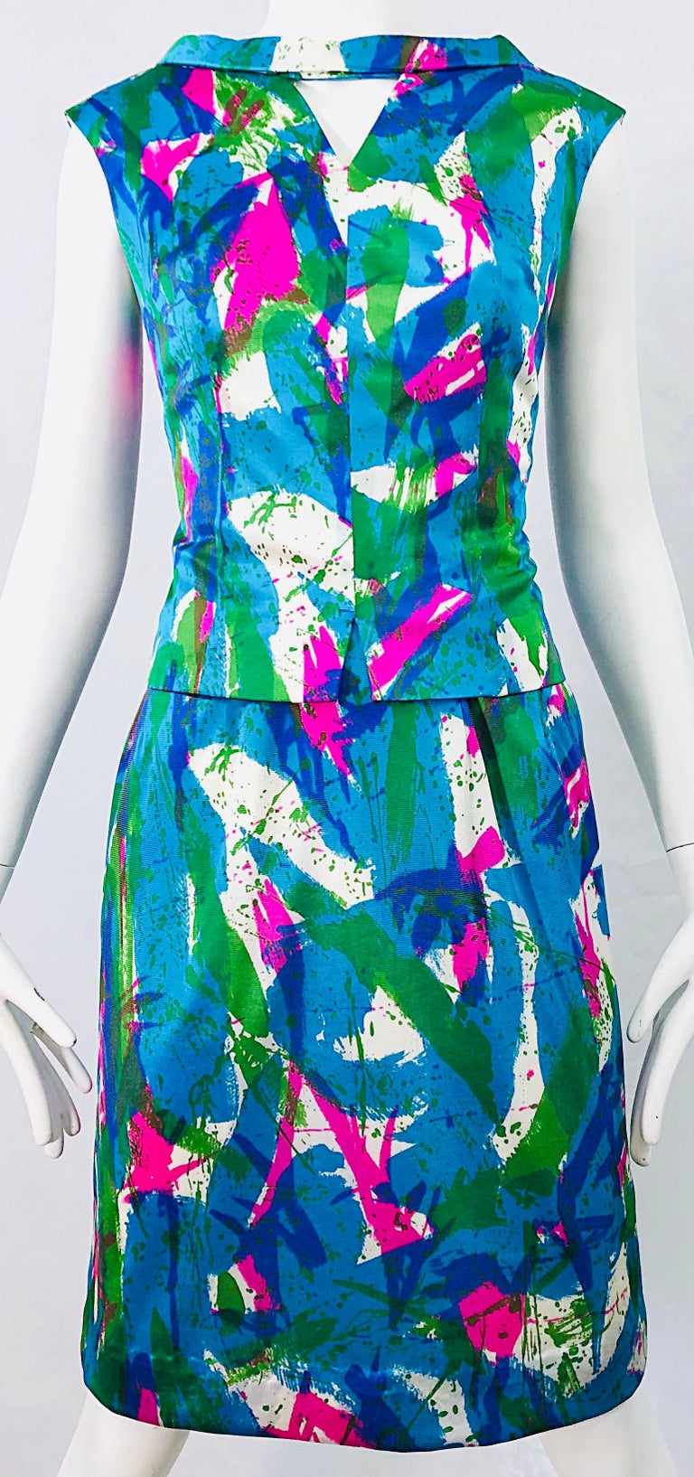 Chic 1960s Neon Abstract Print Two Piece Vintage 60s Sheath Dress + Top Blouse  For Sale 7