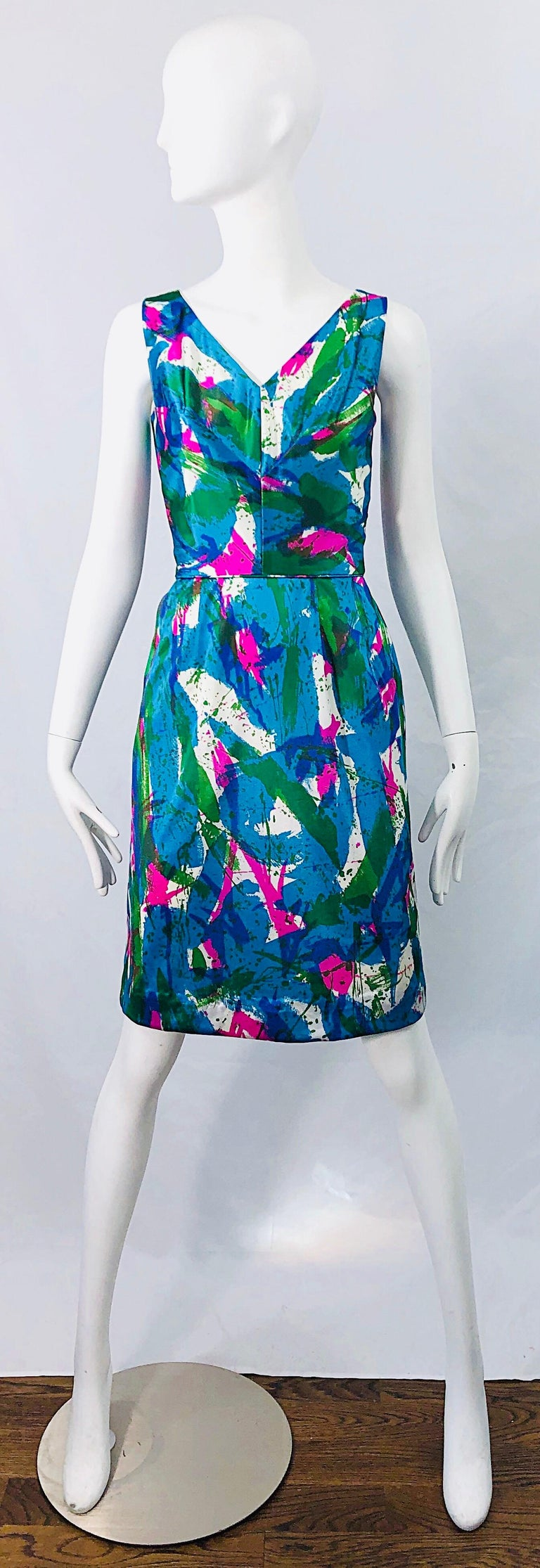 Chic 1960s Neon Abstract Print Two Piece Vintage 60s Sheath Dress + Top Blouse  For Sale 8
