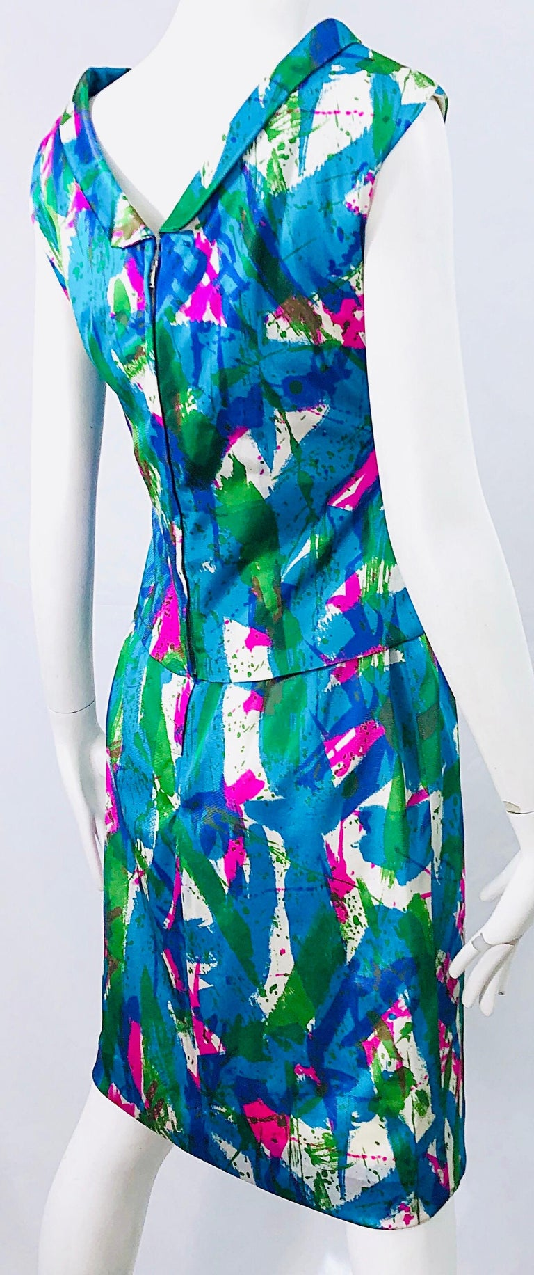 Chic 1960s Neon Abstract Print Two Piece Vintage 60s Sheath Dress + Top Blouse  For Sale 9