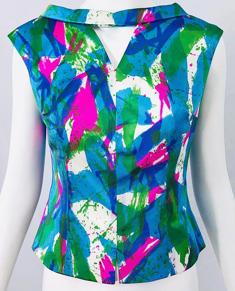 Chic 1960s Neon Abstract Print Two Piece Vintage 60s Sheath Dress + Top Blouse  In Excellent Condition For Sale In Chicago, IL