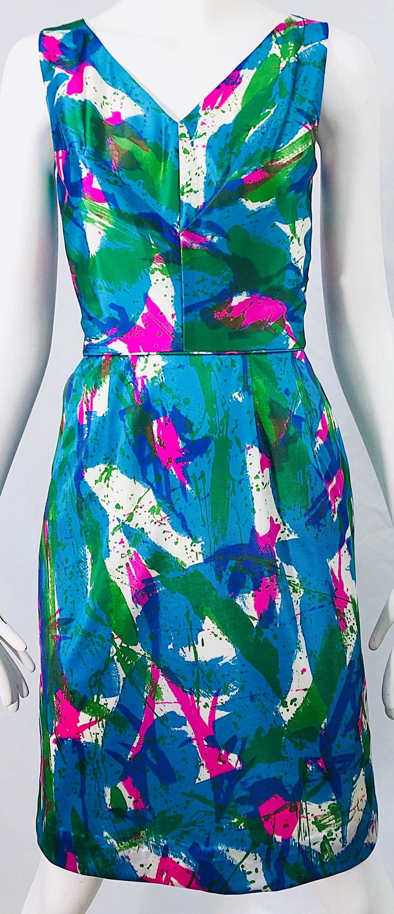 Women's Chic 1960s Neon Abstract Print Two Piece Vintage 60s Sheath Dress + Top Blouse  For Sale