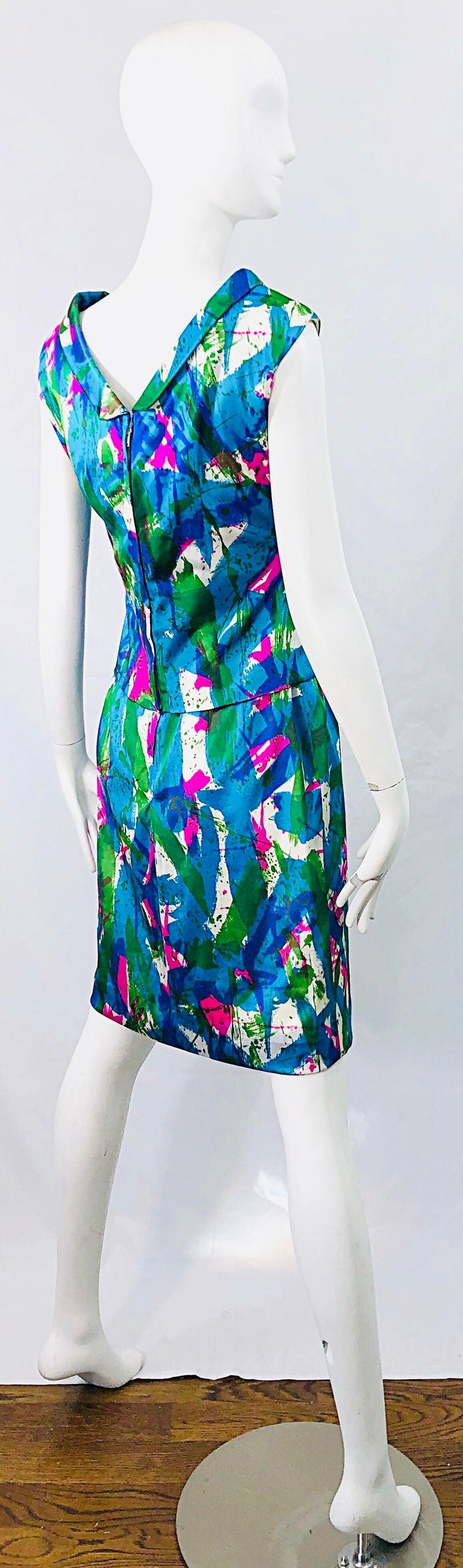 Chic 1960s Neon Abstract Print Two Piece Vintage 60s Sheath Dress + Top Blouse  For Sale 2