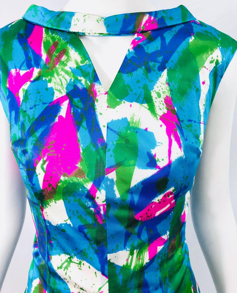 Chic 1960s Neon Abstract Print Two Piece Vintage 60s Sheath Dress + Top Blouse  For Sale 3