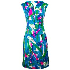 Chic 1960s Neon Abstract Print Two Piece Vintage 60s Sheath Dress + Top Blouse