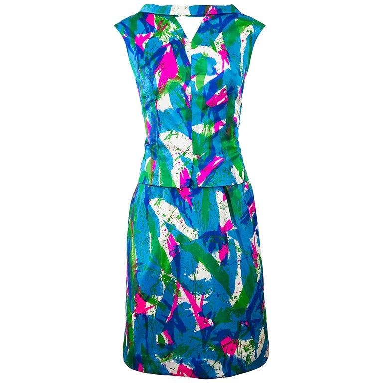 Chic 1960s Neon Abstract Print Two Piece Vintage 60s Sheath Dress + Top Blouse  For Sale