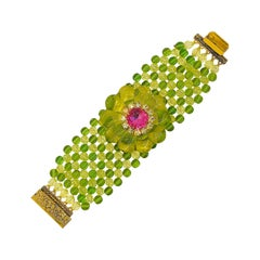 Chic 1960s Neon Lime Green + Hot Pink Lucite Vintage 60s Flower Bracelet Cuff